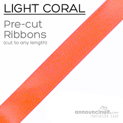 Pre-Cut 1/4 Inch Light Coral Ribbon