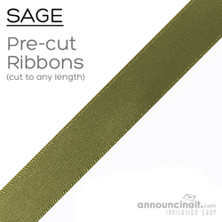 Pre-Cut 1/4 Inch Sage Green Ribbon