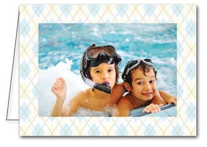 Blue and Tan Argyle Holiday Photo Holder Cards*