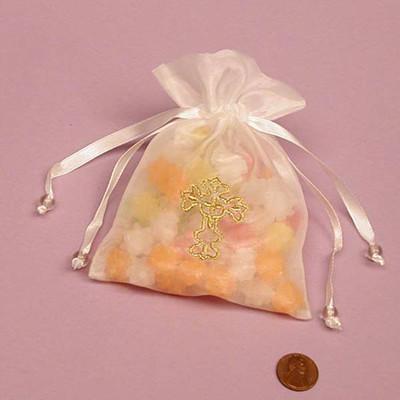 Golden Cross White Organza Favor Bags