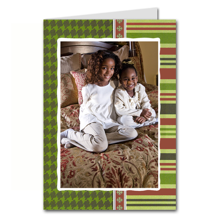 Houndstooth & Stripes GREETED Holiday Photo Holder Cards*