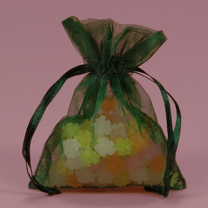 Shimmer Hunter Green Organza Bag