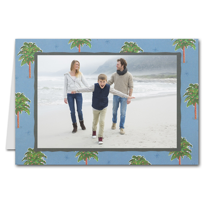 Palm Trees on Blue GREETED Holiday Photo Holder Cards (H)