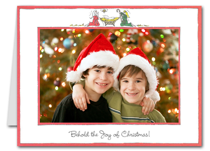 Manger Christmas Holiday GREETED Photo Holder Cards (H)