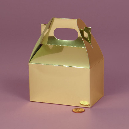 Metallic Gold Gable Handle Favor Box