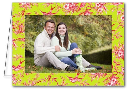 Pink Bird Toile on Green Holiday Photo Holder Cards*