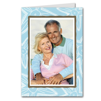 Starfish on Blue GREETED Holiday Photo Holder Cards (H/V)