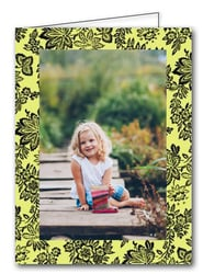 Black Floral Baroque on Green Holiday Photo Holder Cards*
