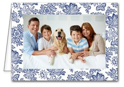 Blue Floral Baroque Holiday Photo Holder Cards*