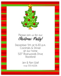 Red Bulbs on Christmas Tree Invitations