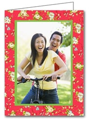 Flowers on Red Holiday Christmas Photo Holder Cards*