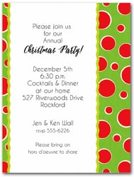 Red Dots on Green Holiday Party Invitations