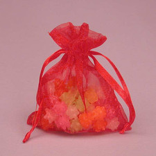 Shimmer Red Organza Bag