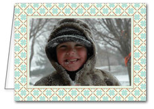 Teal & Brown Pattern Holiday Photo Holder Cards*