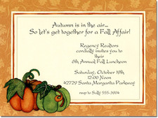 Pumpkins on Fall Leaves Party Invitations
