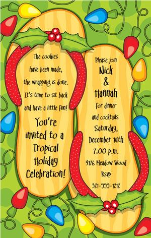 Christmas Flip Flops Invitations Tropical Holiday