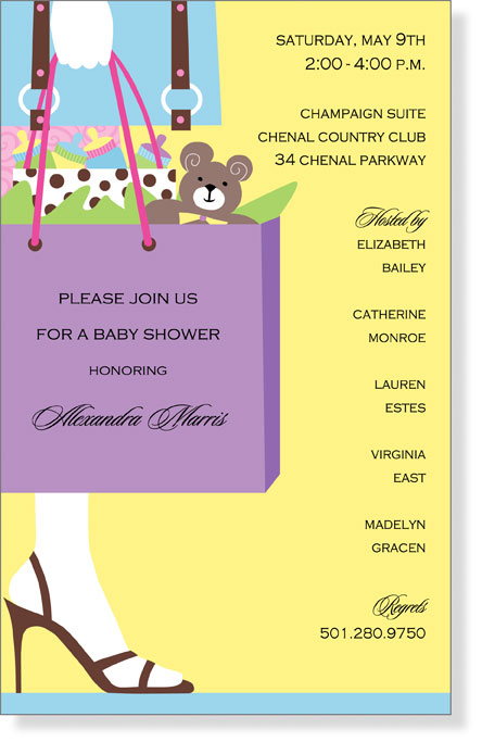 Baby Shower Please Mail Gifts ~ Purple gift bag baby shower invitation