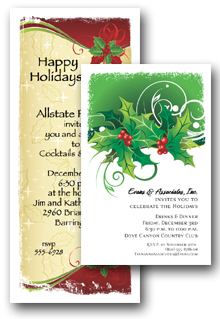 Floral Holiday Invitations | Christmas Floral Invitations, Wreaths, Topiaries, Holly, Poinsettias Invitations