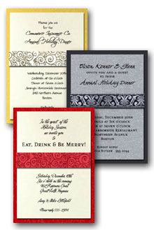 Ribbon Wrapped Christmas Party Invitations