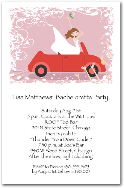 Bride in Red Convertible Invitations