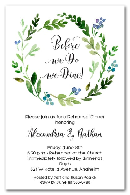 Blue Buds Wreath Rehearsal Dinner Invitations