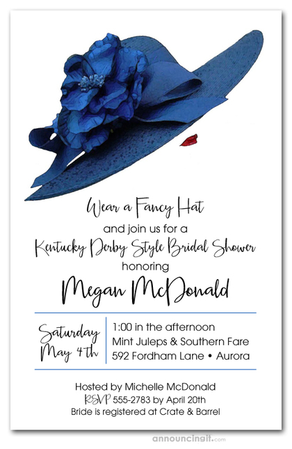 Blue Floral Hat Derby Bridal Shower Invitations