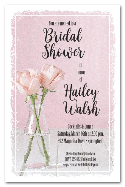 Bottle of Pink Roses Bridal Shower Invitations