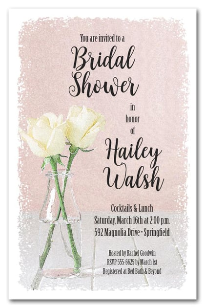 Bottle of White Roses Bridal Shower Invitations
