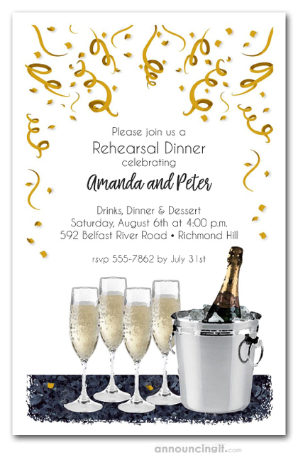 Champagne Bucket Rehearsal Dinner Invitations