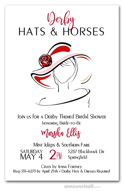 Dressed Derby Bridal Shower Invitations
