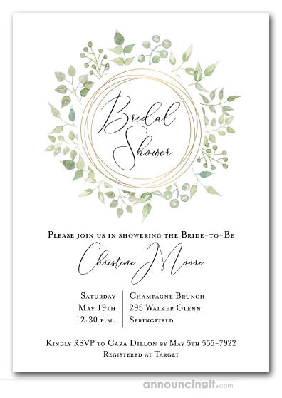 Wedding Shower Invitations.Pale Greenery Wreath Bridal Shower Invitations