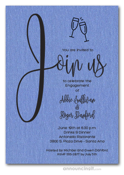 Join Us Shimmery Blue Engagement Party Invitations