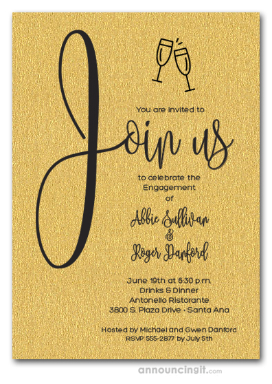 Join Us Shimmery Gold Engagement Party Invitations