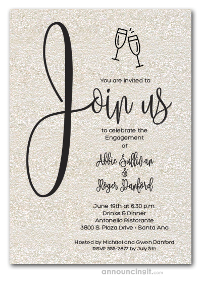 Join Us Shimmery Quartz Engagement Party Invitations