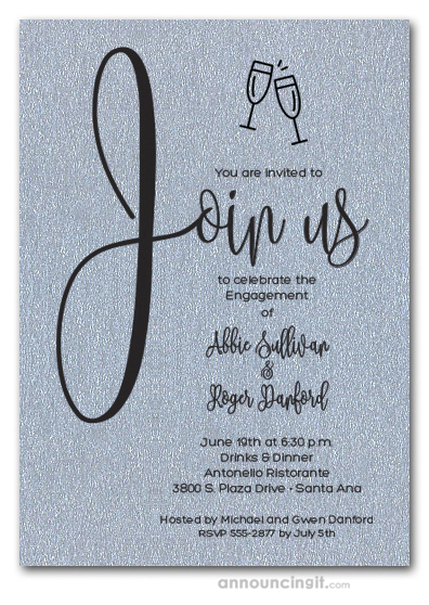 Join Us Shimmery Silver Engagement Party Invitations