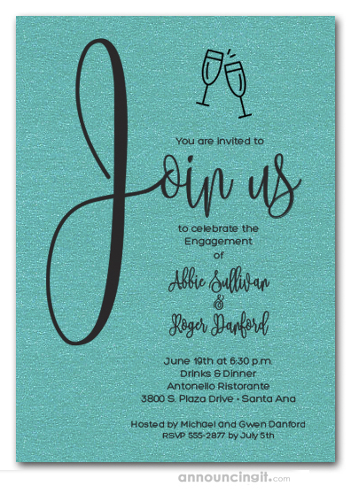 Join Us Shimmery Turquoise Engagement Party Invitations
