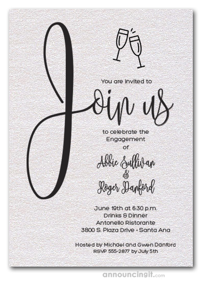 Join Us Shimmery White Engagement Party Invitations