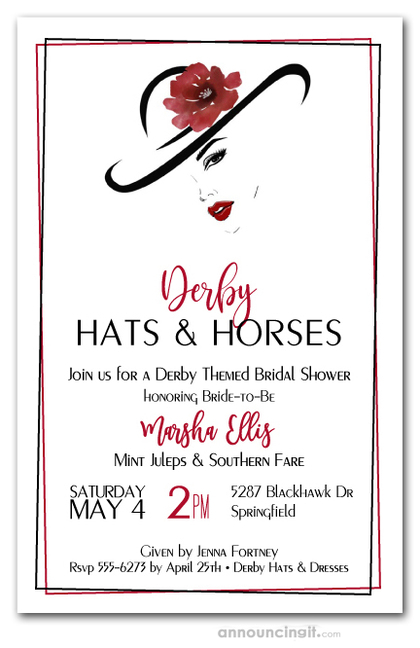 Large Hat Lady's Silhouette Derby Shower Invitations
