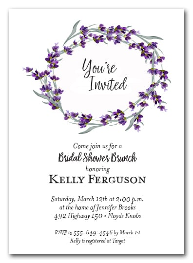 lavender sprigs wreath party invitations