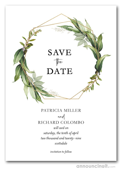 Foliage on Gold Geometric Wreath Save the Date Cards