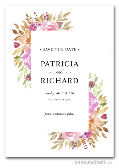 Modern Sweet Pink Floral Save the Date Cards