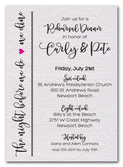 Night Before Rehearsal Dinner Invitations on Shimmery White