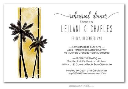 Palms on Gold Rehearsal Dinner Invitations