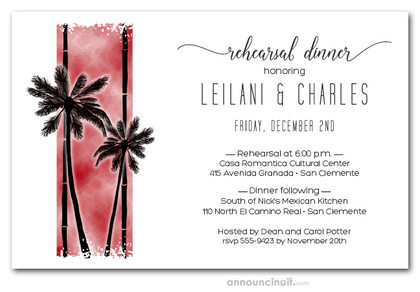 Palms on Red Rehearsal Dinner Invitations