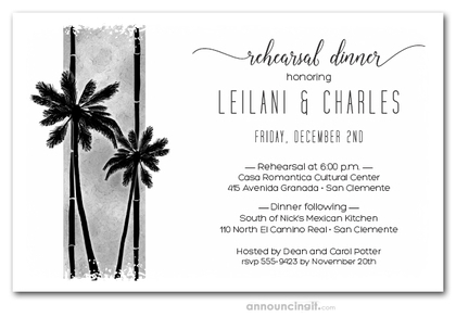 Palms on Grey Rehearsal Dinner Invitations