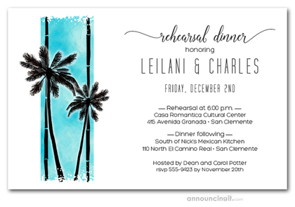 Palms on Turquoise Rehearsal Dinner Invitations