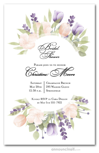 Pink and Purple Tulips Bridal Shower Invitations