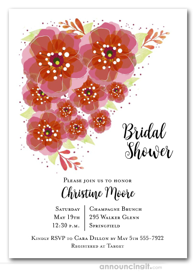 Red and Pink Floral Bridal Shower Invitations