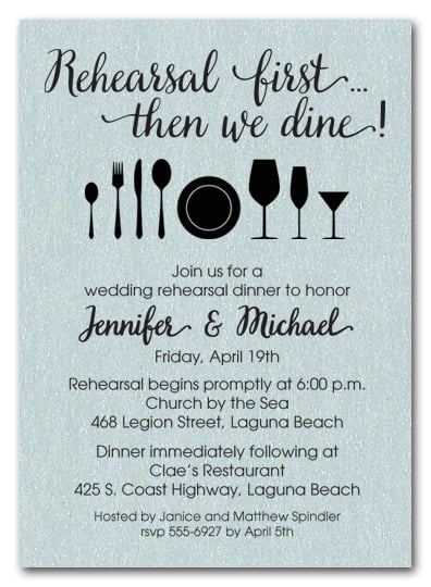 shimmery aqua then we dine wedding rehearsal dinner party invitations