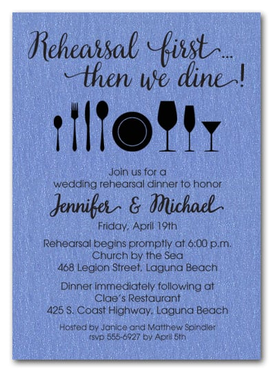 Rehearsal First Blue Shimmery Party Invitations